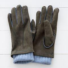 Herren Handschuh mit Stulpe aus Ziegenleder Khaki/Hellblau