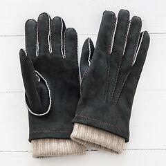 Herren Handschuh mit Stulpe aus Ziegenleder Schwarz/Beige