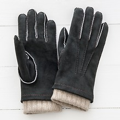 Herren Handschuh mit Stulpe Schwarz/Beige Gr. 7,5