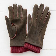 Herren Handschuh mit Stulpe aus Ziegenleder Braun/Bordeaux