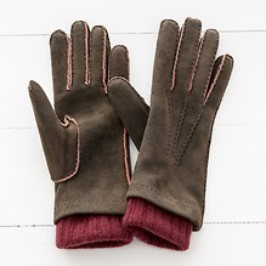 Damen Handschuh mit Stulpe Braun/Bordeaux Gr. 6,5