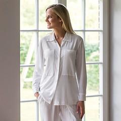 Sunday in Bed Pyjamashirt Langarm Weiß