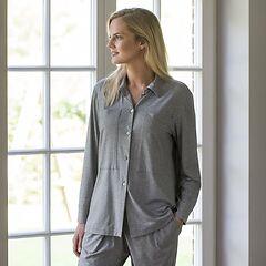 Sunday in Bed Pyjamashirt Langarm Graumeliert