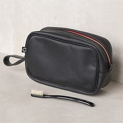 Croots Vintage Leather Washbag Black