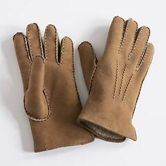 Damenhandschuhe Curly Lammfell Biber mit Naht Dunkelbraun