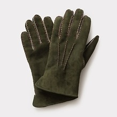 Herrenhandschuhe Curly Lammfell Grün mit bunter Naht