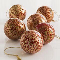 Papiermaché Christbaumkugeln Udhampur Rot und Gold