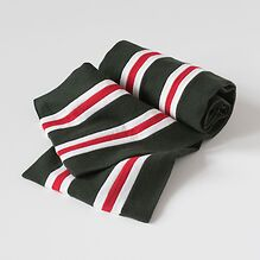 Englische College Schals Grün mit Weiß-Roten Streifen