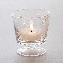 Windlicht aus mundgeblasenem Glas mit Fuß (Höhe: 11 cm)