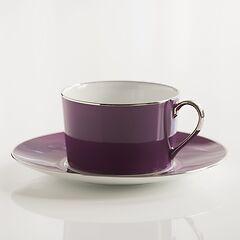 Porcelaine de Limoges Frühstückstasse mit Untertasse Amethyst
