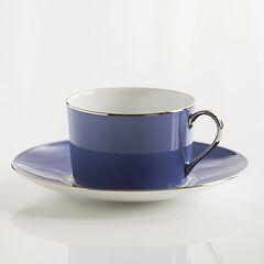 Porcelaine de Limoges Frühstückstasse mit Untertasse Französisch Blau