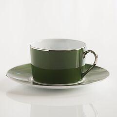 Porcelaine de Limoges Frühstückstasse mit Untertasse Empiregrün