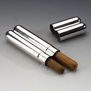 Doppel-Zigarrenetui aus Zinn