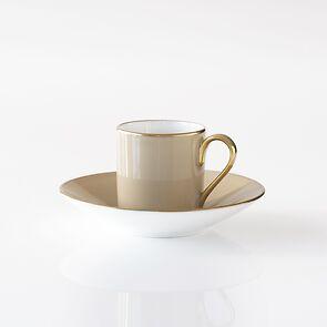 Porcelaine de Limoges Mokkatasse mit Untertasse Beige