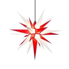 Herrnhuter Stern,  Kunststoff Weiß/Rot