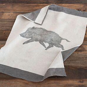 Geschirrtuch Wildschwein grau