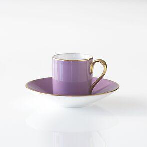 Porcelaine de Limoges Mokkatasse mit Golddekor Lila