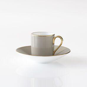 Porcelaine de Limoges Mokkatasse mit Golddekor Perlgrau