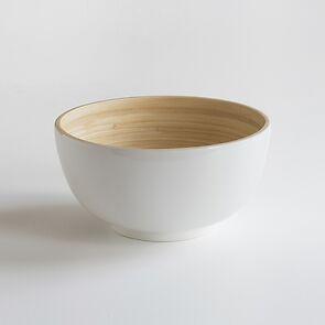 Bambus Salatschüssel L Weiß