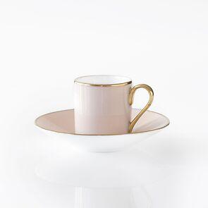 Porcelaine de Limoges Mokkatasse mit Untertasse Rosa