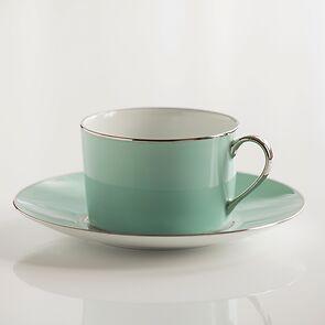 Porcelaine de Limoges Tasse mit Untertasse Mintgrün