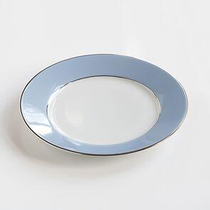 Porcelaine de Limoges Dessertteller Platindekor Eisblau
