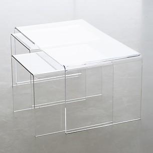 Dreiteiliger Acryl-Sofatisch, transparent