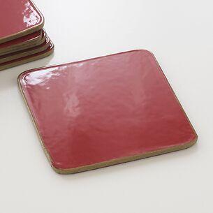 6 Untersetzer 10,5 x 10,5 cm Red/Gold