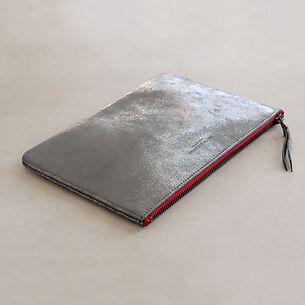 Große Leder-Pouche Silber 23 x 15 cm