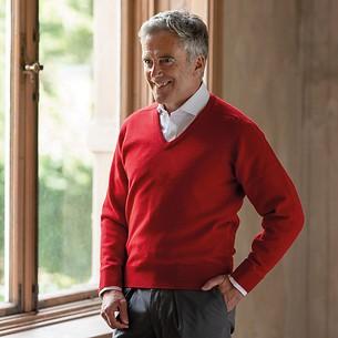 Lambswool-Pullover mit V-Ausschnitt