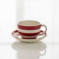 4 Cappuccino Tassen Cornishware Rot