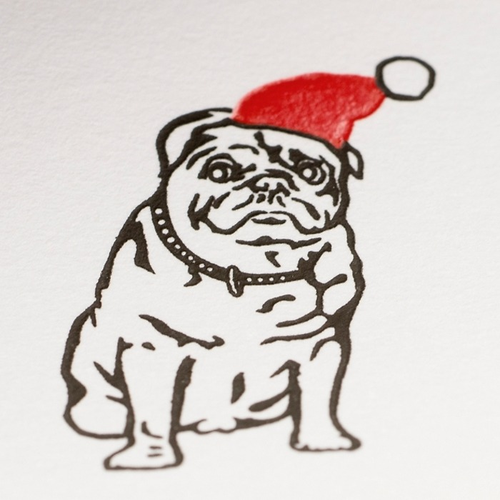 5 Briefbögen A4 Christmas Mops