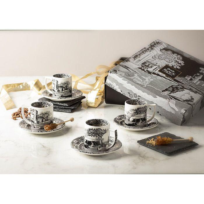 Spode Black Italian Espressotassen-Set
