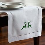 Tischläufer 180 x 50 cm Grüner Hirsch Leinen